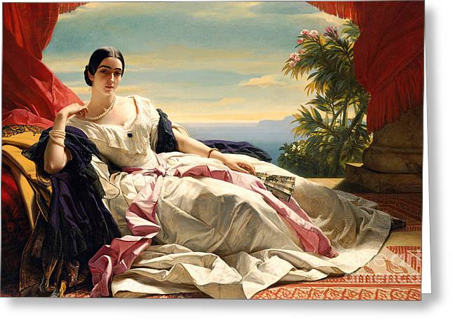 Franz Xaver Winterhalter Greeting Cards - Portrait of Leonilla by Franz Xaver Winterhalter  Greeting Card by Justyna JBJart