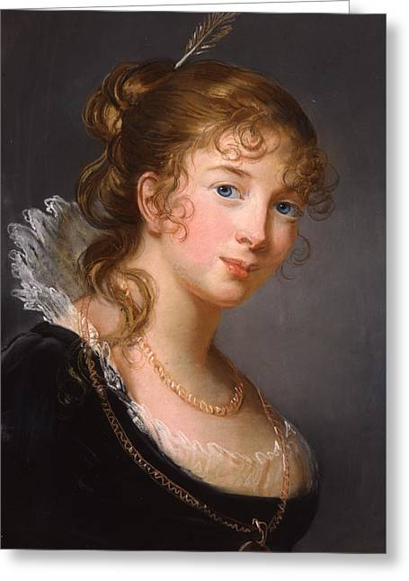 Blue Necklace Greeting Cards - Portrait of Louisa Princess Radziwill  Greeting Card by Elisabeth Louise Vigee-Lebrun