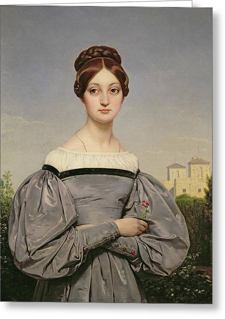 Bun Greeting Cards - Portrait of Louise Vernet Greeting Card by Emile Jean Horace Vernet