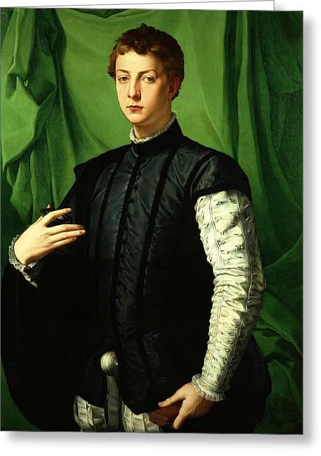 Bronzino Agnolo Greeting Cards - Portrait of Ludovico Cappon Greeting Card by Agnolo Bronzino