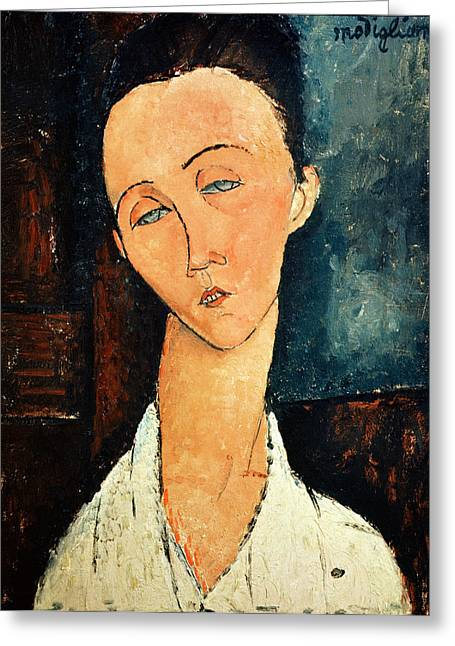 Portraits Oil Greeting Cards - Portrait of Lunia Czechowska Greeting Card by Amedeo Modigliani