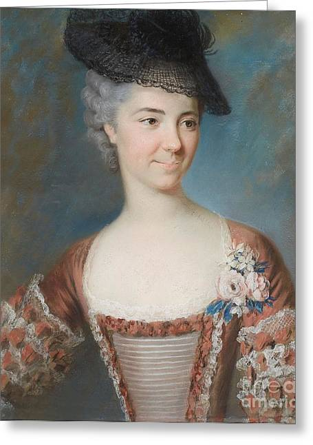 French School; (18th Century) Greeting Cards - Portrait Of Madame De St. Jacques Nee Raymond Greeting Card by MotionAge Designs