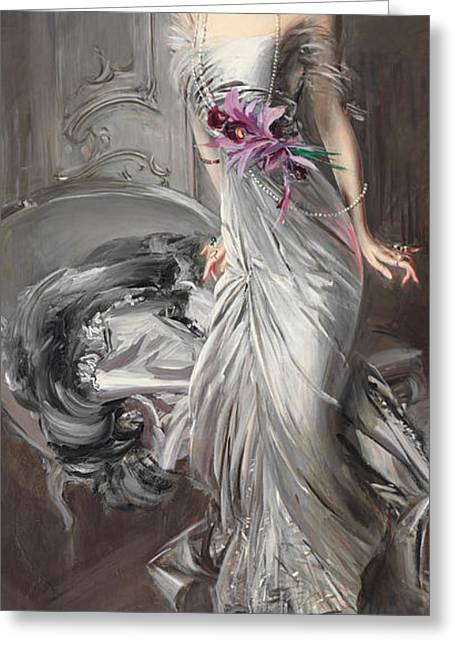 Fashionista Greeting Cards - Portrait of Madame Eugene Doyen Greeting Card by Giovanni Boldini