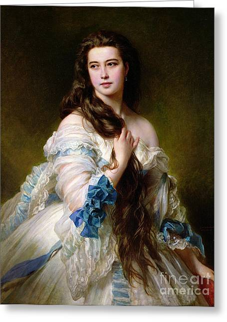 White Paintings Greeting Cards - Portrait of Madame Rimsky Korsakov Greeting Card by Franz Xaver Winterhalter