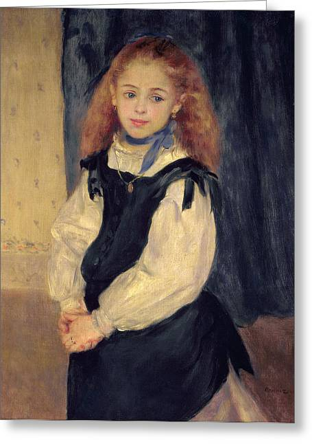 Blue Necklace Greeting Cards - Portrait of Mademoiselle Legrand Greeting Card by Pierre Auguste Renoir
