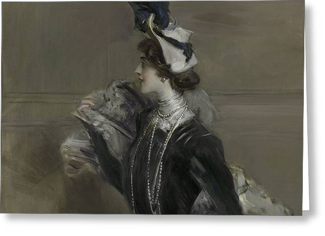 Portrait Of Mademoiselle Lina Cavalieri Greeting Card by Giovanni Boldini