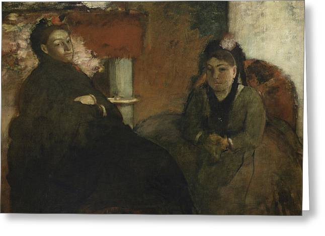 Portrait Of Mademoiselle Lisle And Mademoiselle Loubens Greeting Card by Edgar Degas