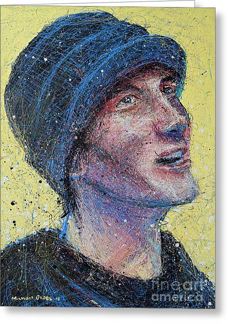 Portrait Of Man  Greeting Card by Michael Glass