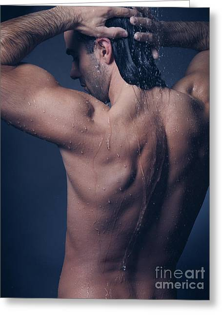 Gray Hair Greeting Cards - Portrait of man with wet bare torso in shower Greeting Card by Oleksiy Maksymenko