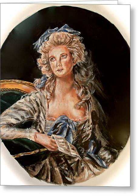 Royal Art Greeting Cards - portrait of Marie Antoinette Greeting Card by Kate Evans