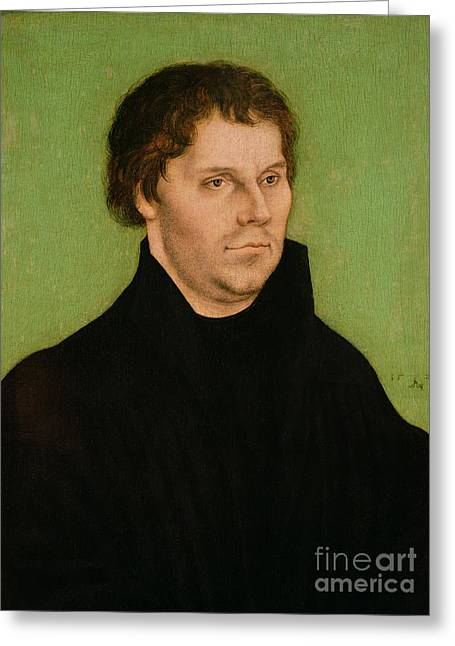 Lutheran Greeting Cards - Portrait of Martin Luther Greeting Card by Lucas Cranach the Elder