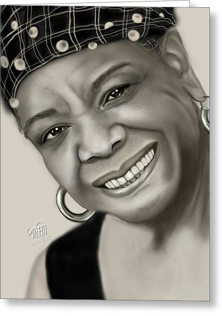 Maya Angelou Greeting Cards - Portrait of Maya Angelou Greeting Card by Maria T  Martinez