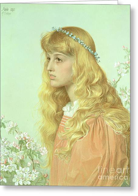 Portrait Of Miss Adele Donaldson, 1897 Greeting Card by Anthony Frederick Augustus Sandys