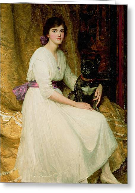 Refined Greeting Cards - Portrait of Miss Dorothy Dicksee  Greeting Card by Sir Frank Dicksee