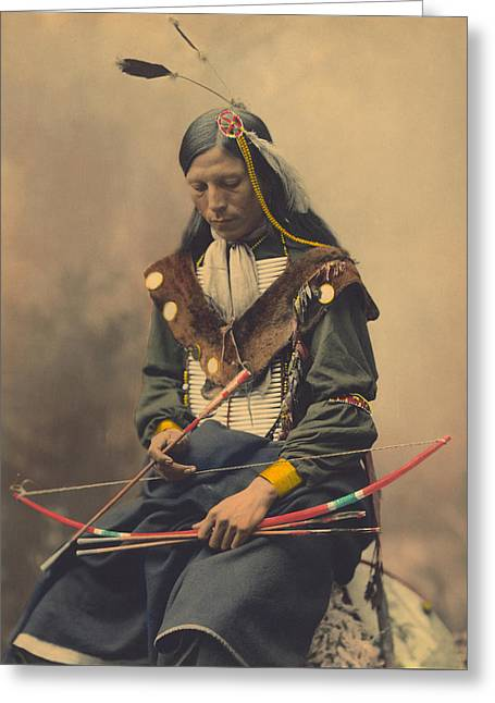 Portrait Of Oglala Sioux Council Chief Bone Necklace Greeting Card by American School