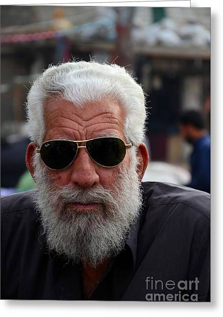 Labelled Greeting Cards - Portrait of Pakistani senior man in sunglasses Karachi Pakistan Greeting Card by Imran Ahmed