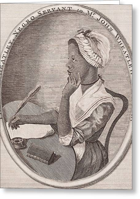 First Lady Drawings Greeting Cards - Portrait of Phillis Wheatley Greeting Card by American School