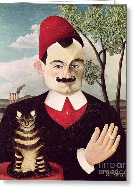 Moustache Greeting Cards - Portrait of Pierre Loti Greeting Card by Henri Rousseau