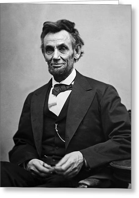Landmarks Tapestries Textiles Greeting Cards - Portrait of President Abraham Lincoln Greeting Card by International  Images