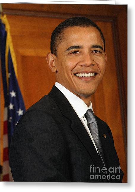 President Obama Greeting Cards - Portrait of President Barack Obama Greeting Card by Celestial Images