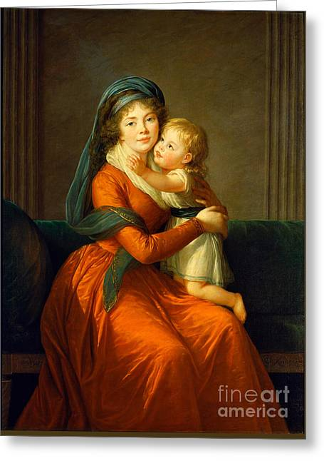Portrait Of Princess Alexandra Golitsyna And Her Son Piotr Greeting Card by Celestial Images