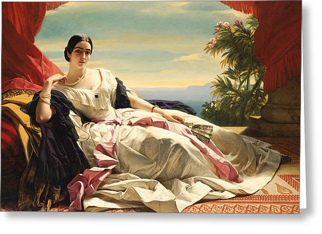 Pink Skirt Greeting Cards - Portrait of Princess Leonilla Greeting Card by Franz Xaver Winterhalter