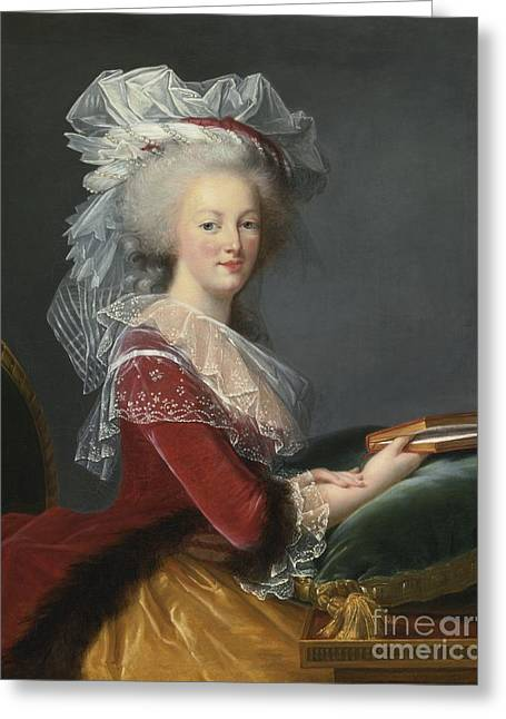 Marie-louise Greeting Cards - Portrait Of Queen Marie-antoinette Greeting Card by Studio of Elisabeth-Louise Vigee Le Brun
