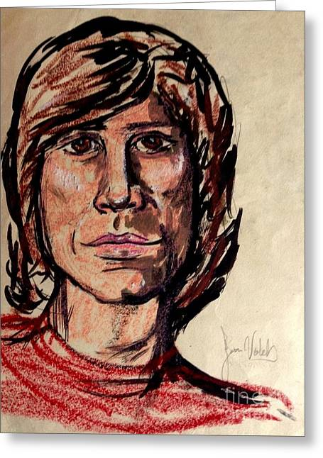 Singer Songwriter Pastels Greeting Cards - Portrait of Ray Greeting Card by Joan-Violet Stretch