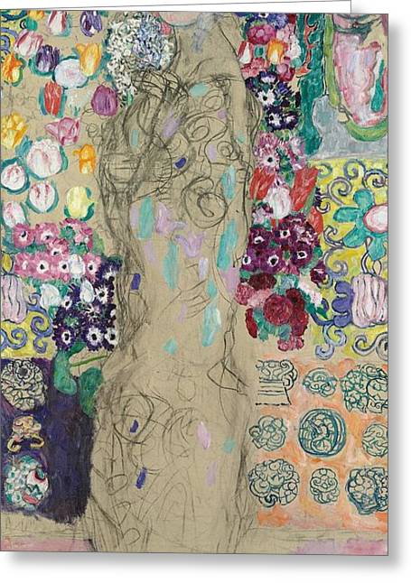 Flowery Greeting Cards - Portrait of Ria Munk III Greeting Card by Gustav Klimt