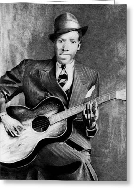 Carrie Jackson Studios Greeting Cards - Portrait of Robert Johnson Greeting Card by Carrie Jackson