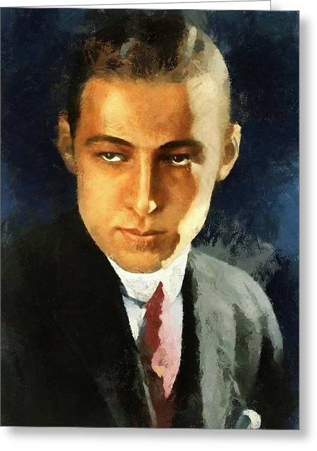 Rudolph Greeting Cards - Portrait of Rudolph Valentino Greeting Card by Charmaine Zoe