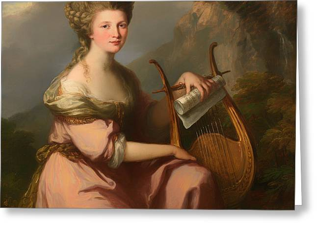 Acting Paintings Greeting Cards - Portrait Of Sarah Harrop As A Muse Greeting Card by Angelica Kauffmann
