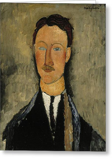 20th Greeting Cards - Portrait of the Artist Leopold Survage Greeting Card by Amedeo Modigliani