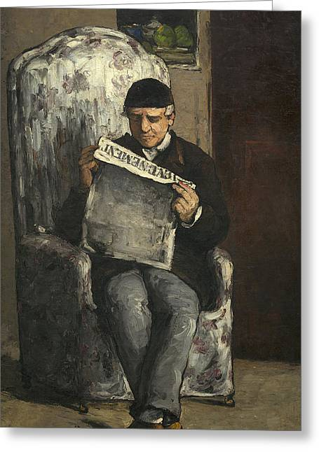 Paul Cezanne Greeting Cards - Portrait of the Artists Father Greeting Card by Paul Cezanne