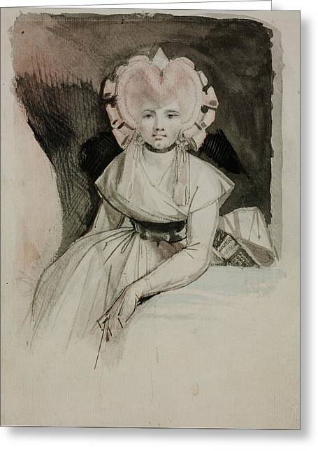 Romanticism Drawings Greeting Cards - Portrait of the Artists Wife Greeting Card by Henry Fuseli