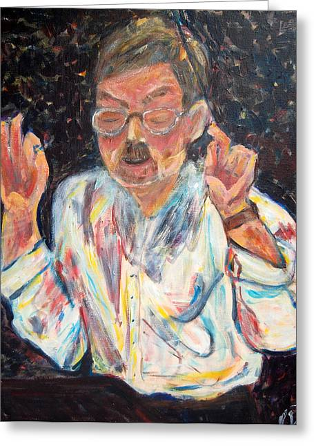 Carolyn Donnell Greeting Cards - Portrait of the Conductor Greeting Card by Carolyn Donnell