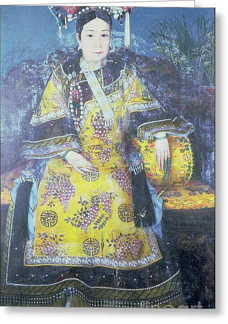 Dynasty Greeting Cards - Portrait of the Empress Dowager Cixi Greeting Card by Chinese School