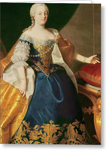 Embroidered Dress Greeting Cards - Portrait of the Empress Maria Theresa of Austria Greeting Card by Martin Mytens or Meytens