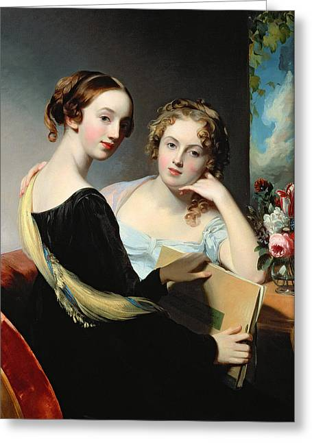 Gaze Greeting Cards - Portrait of the McEuen sisters Greeting Card by Thomas Sully