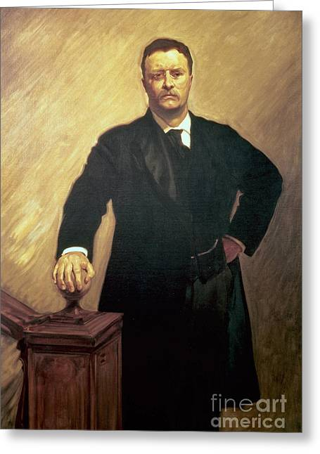 Singer Paintings Greeting Cards - Portrait of Theodore Roosevelt Greeting Card by John Singer Sargent