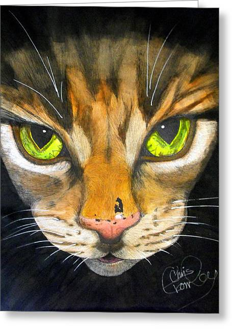 Watercolor With Pen Mixed Media Greeting Cards - Portrait of Tigger Greeting Card by Chris Crowley