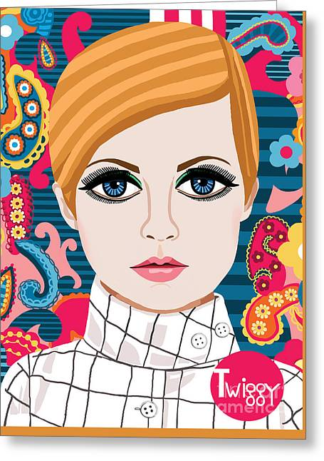 British Celebrities Greeting Cards - Portrait of Twiggy Greeting Card by Jackie Besteman