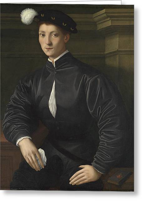 Bronzino Agnolo Greeting Cards - Portrait of Ugolino Martelli Greeting Card by Agnolo di Cosimo di Mariano Bronzino