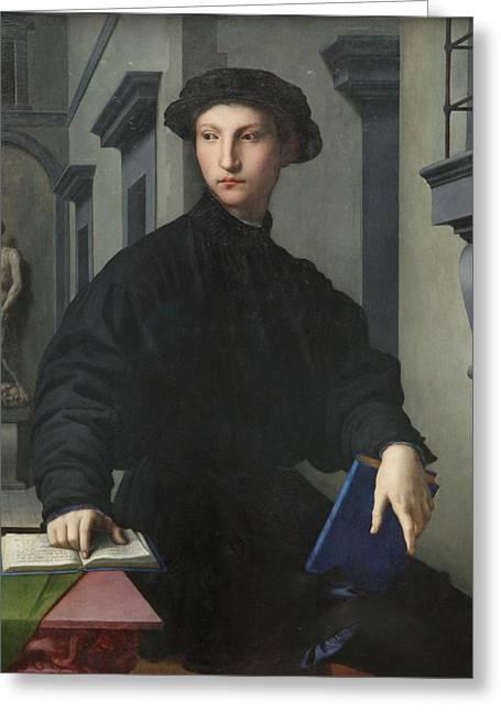 Bronzino Agnolo Greeting Cards - Portrait of Ugolino Martelli by Bronzino Greeting Card by Agnolo di Cosimo di Mariano Bronzino