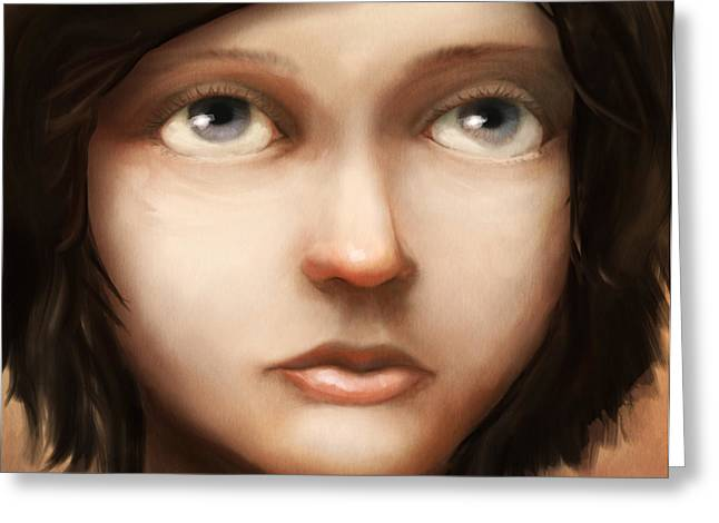 Girl Face Greeting Cards - Portrait of Vela Greeting Card by Ethan Harris