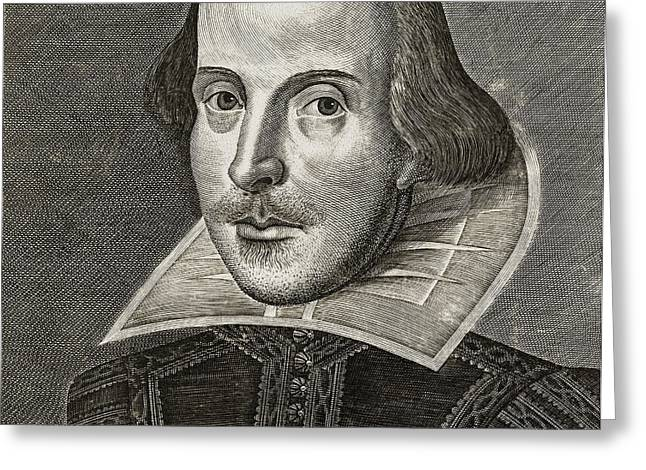 Literary Drawings Greeting Cards - Portrait of William Shakespeare Greeting Card by Martin the elder Droeshout