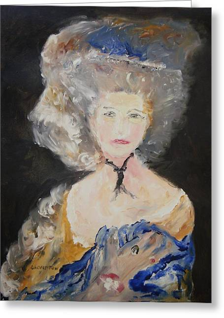 Portrait Of Woman In Blue Greeting Card by Edward Wolverton