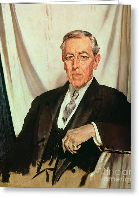 Best Sellers -  - Reserve Greeting Cards - Portrait of Woodrow Wilson Greeting Card by Sir William Orpen