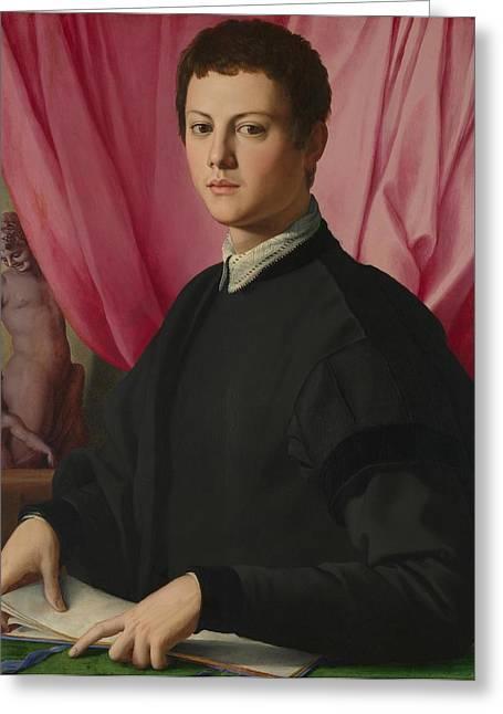 Bronzino Agnolo Greeting Cards - Portrait of Young  Man Greeting Card by Agnolo Bronzino