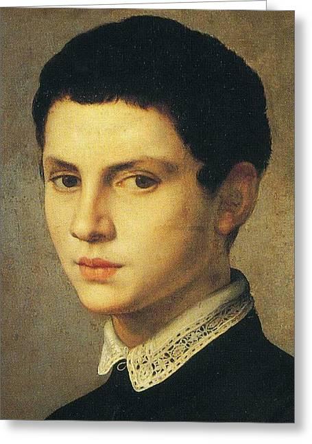 Bronzino Agnolo Greeting Cards - Portrait of Young Sculptor Greeting Card by Agnolo Bronzino